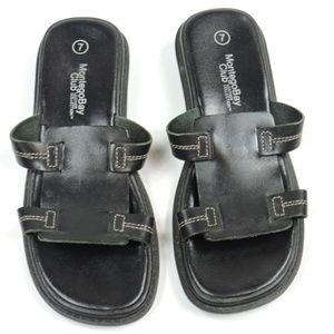 MONTEGO BAY CLUB Black Leather Brazil Sandals